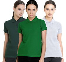 Polo Nation Women's Cotton Polo T-shirt Pack of 3 (Bottle Green, Grey, Green