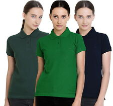 Polo Nation Women's Cotton Polo T-shirt Pack of 3 (Bottle Green,Navy Blue,Green