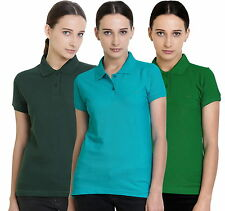 Polo Nation Women's Cotton Polo T-shirt Pack of 3 (Bottle Green,Green,Turquoise)