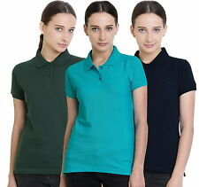 Polo Nation Women's Cotton Polo T-shirt Pack of 3 (Dark Green,NavyBlue,Turquoise