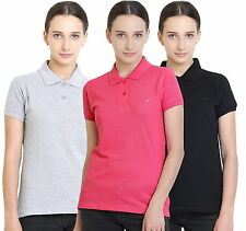 Polo Nation Women's Cotton Polo T-shirt Pack of 3 (Grey Melange,Black,Pink)