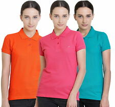Polo Nation Women's Cotton Polo T-shirt Pack of 3 (Orange,Pink,Turquoise)