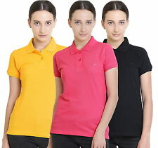 Polo Nation Women's Cotton Polo T-shirt Pack of 3 (Yellow,Black,Pink)