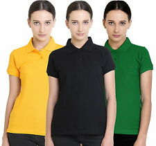 Polo Nation Women's Cotton Polo T-shirt Pack of 3 (Yellow,Light Green,Black)
