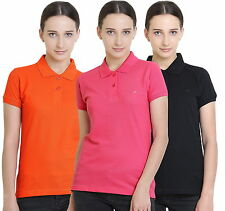 Polo Nation Women's Cotton Polo T-shirt Pack of 3 (Orange,Black,Pink)
