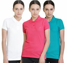 Polo Nation Women's Cotton Polo T-shirt Pack of 3 (White,Pink,Turquoise)