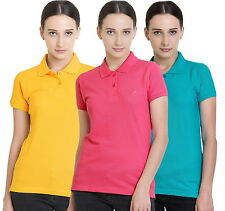 Polo Nation Women's Cotton Polo T-shirt Pack of 3 (Yellow,Pink,Turquoise)