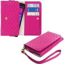 Hot Pink Luxury Wallet Flip Case Cover Pouch Holster Lanyard for Cell Phone