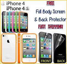 iPhone 4 4S TPU BUMPER Frame Only FREE Screen + Back Protector Fast Shippin