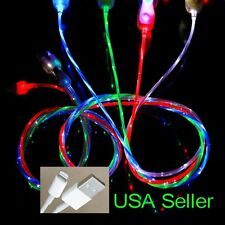 FLOWING LED LIGHT USB Sync Cable charger micro FOR iPhone 5s 5c 6 plus  -US