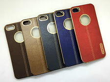 APPLE IPHONE 5G/5S IMPORTED PREMIUM LEATHER FINISH SILICON BACK CASE COVER.