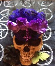 GOTHIC PURPLE INVERTED CROSS HAT....Wedding,Veil,Roses,Lolita,Victorian,Vintage