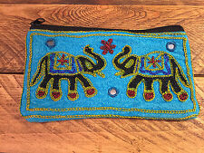 Handmade Indian Elephant Purse Coin Purse Bag Sleeve Pouch Zip Case Recycled LG