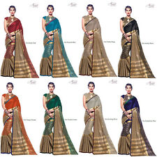 Designer Bollywood Indian Saree Fabric Pure Cotten Silk Party wear Sari Blouse