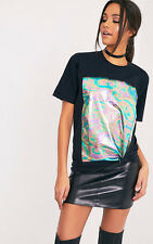 PrettyLittleThing Womens Maralee Black Oversized Holographic Foil Print T Shirt