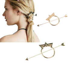 Vintage Gold Dot Triangle Hoop Arrow French Updo Hair Pin Clip Dress Stick