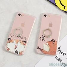 Cute Funny Stupid Cat Matte Finger Rings TPU Case Cover for iPhone 7 7 Plus 6 6S