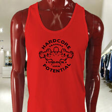HARDCORE GYM TRAINING WORKOUT LIFT MUSCLE SWOLE Mens Red Tank Top