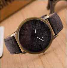 Retro Unisex Quartz Watch Antique Gold Faux Grey Denim Look New - UK Stock