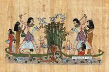 "Egyptian Papyrus Painting - Hunting and Fishing 8X12"" + Hand Painted #86"