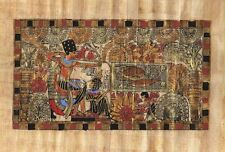 "Egyptian Papyrus Painting King Tut and his Wife Hunting 7X9"" + Hand Painted #39"