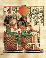 """Egyptian Papyrus Painting - Isis and Horus 7X9"""" + Hand Painted + Description #68"""
