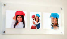"""ACRYLIC 10mm 14x32"""" 10mm WALL picture PHOTO FRAME FOR 2x 10x7"""" or 10x8"""" &1x 5X7"""""""