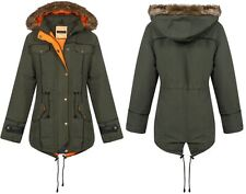 New Womens Ladies Contrast Inner Quilted Fishtail Parka Jacket