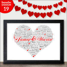 HEART WORD ART Personalised Valentines Gift for Her I Love You Personal Present