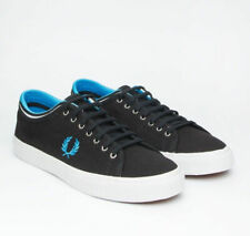 Fred Perry Men's Kendrick Tipped Cuff Canvas Shoes Black / Blue Trainers