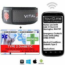 Diabetes Type 2 SMS Medical Alert ID Bracelet Identity Card Emergency Men Women