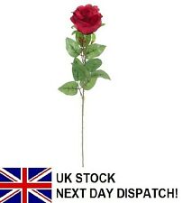 50cm Artificial Valentines Day Rose Silk Flowers Stem Head Floral Fake RED
