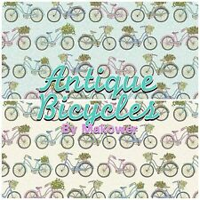 Makower Antique Bicycle English Oxford Bike Patchwork Fabric Fat Quarters