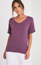 PrettyLittleThing Womens Ladies Basic Aubergine V Neck Oversized T Shirt Blouse