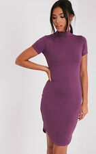 PrettyLittleThing Womens Alby Aubergine Cap Sleeve Curve Hem High Neck Dress