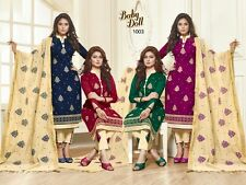 DESIGNER CHURIDAR EMBROIDERED SALWAR KAMEEZ SUIT COTTON DRESS MATERIAL BD1003