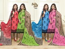 DESIGNER CHURIDAR EMBROIDERED SALWAR KAMEEZ SUIT COTTON DRESS MATERIAL BD1009