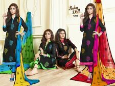 DESIGNER CHURIDAR EMBROIDERED SALWAR KAMEEZ SUIT COTTON DRESS MATERIAL BD1008
