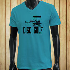 DISC GOLF FLYING DISC GAME TARGET PLAY FRISBEE Mens Turquoise V-Neck T-Shirt