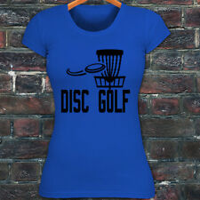 DISC GOLF FLYING DISC GAME TARGET PLAY FRISBEE Womens Blue T-Shirt