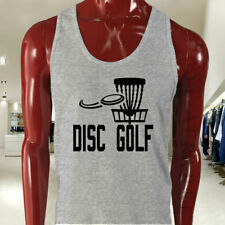 DISC GOLF FLYING DISC GAME TARGET PLAY FRISBEE Mens Gray Tank Top