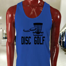 DISC GOLF FLYING DISC GAME TARGET PLAY FRISBEE Mens Blue Tank Top