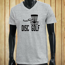 DISC GOLF FLYING DISC GAME TARGET PLAY FRISBEE Mens Gray V-Neck T-Shirt