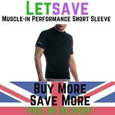 Gym Fitness Black Muscle-In Short Sleeve Snipe Compression Performance Top M-XL