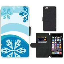 Phone Card Slot PU Leather Wallet Case For Apple iPhone Snowflakes design 3D-gra