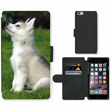 Phone Card Slot PU Leather Wallet Case For Apple iPhone White puppy learns comma