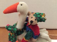 DEB CANHAM  BROWN BEAR ON WHITE GOOSE NEW/OLD STORE STOCK