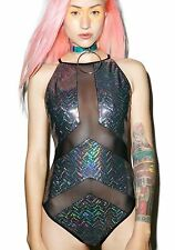 New Jaded London Holographic Panelled Swimsuit in Black SE09