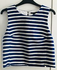 Forever 21 Navy Blue White Striped Woven Cropped Crop Top BNWT UK M RRP £14