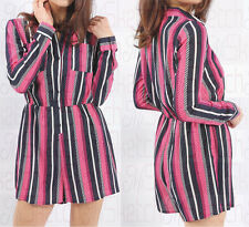 New Ladies Long Sleeves Stripe print Button Front Playsuit jumpsuit  Size 8-14